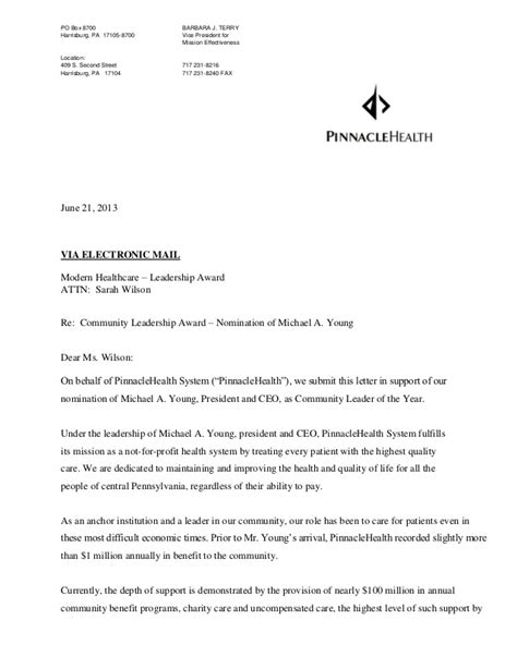 Recommendation Letter Vice President Michael A President And Ceo Pinnaclehealth System 2013 Com