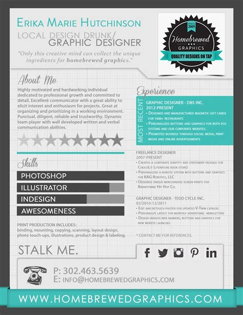 graphic design cv maker infographic resume erika m hutchinson homebrewed graphics