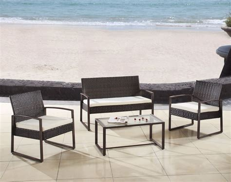 Modern Outdoor Patio Furniture Modern Outdoor 4 Patio Brown Wicker Loveseat Furniture Set Ebay