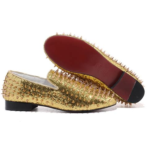 gold spiked loafers christian louboutin rollerboy spikes loafers gold