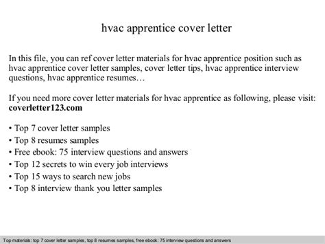 Refrigeration Apprentice Cover Letter by Hvac Apprentice Cover Letter