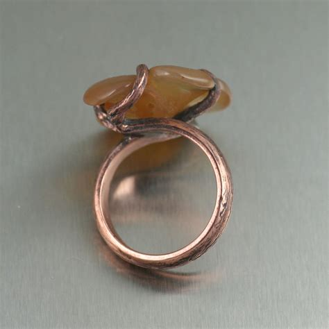 Handmade Copper Jewelry Designs - carnelian dogwood handmade copper ring