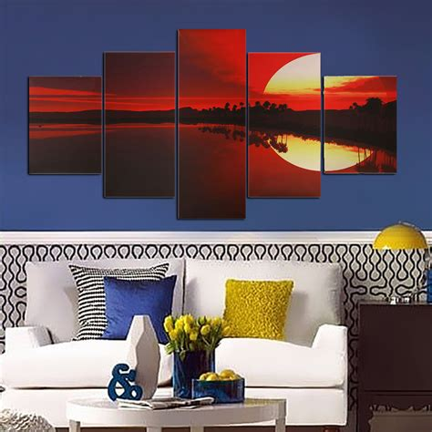 lakeside home decor 5pcs frameless canvas painting red dusk lakeside picture