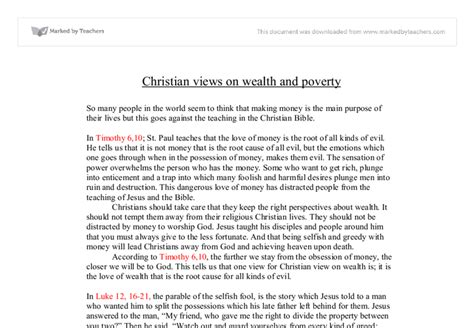 Wealth And Poverty Essay by Christian Views On Wealth Poverty Gcse Religious Studies Philosophy Ethics Marked By