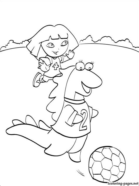 dora soccer coloring pages dora playing football with her friend isa the iguana