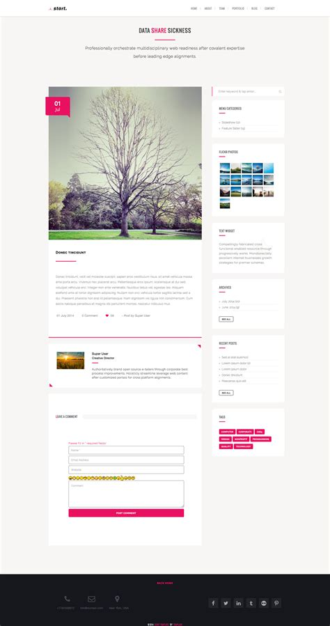 start one page responsive joomla template by plazart