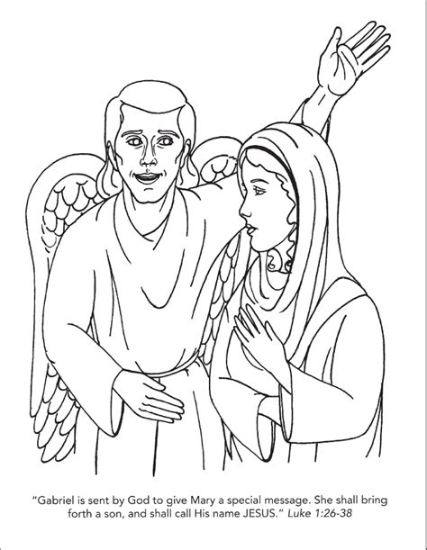 coloring page of angel and joseph angel and mary coloring page coloring home