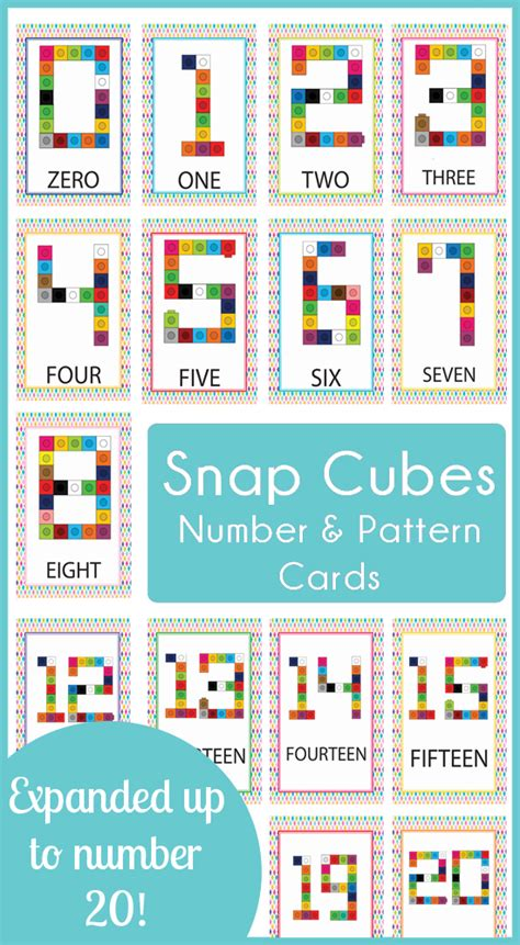 number pattern cards snap cube number cards 0 20 187 one beautiful home