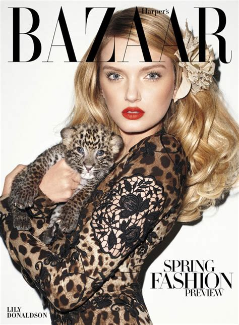 Is Cover Of Harpers Bazaar by Donaldson With Baby Leopard By Terry Richardson For