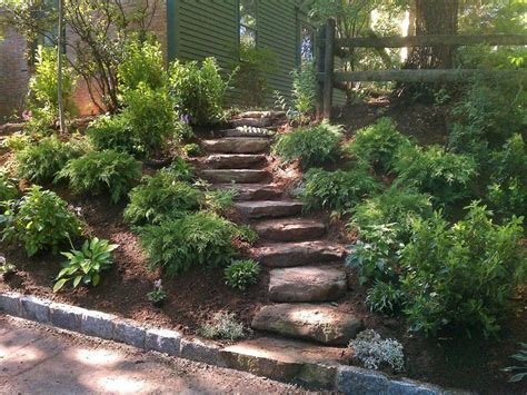 sloped backyard landscaping 41 best my landscape ideas images on pinterest