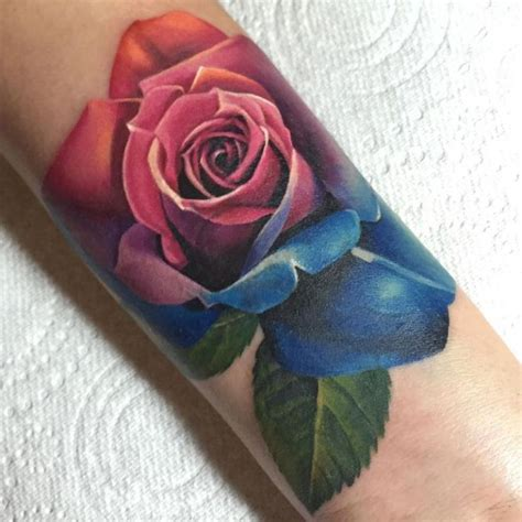 colourful rose tattoo 45 rainbow tattoos tattoofanblog