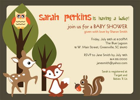 Woodland Creatures Baby Shower by Printable Baby Shower Invitation Woodland Animals Creatures