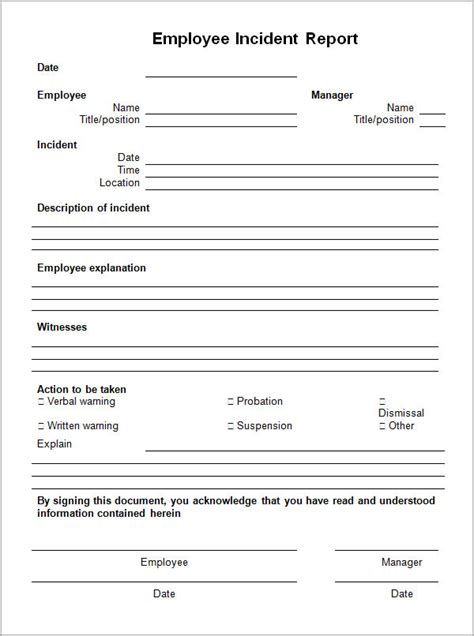 employee incident report template sle employee incident report form images