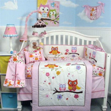 Soho Pink Dancing Owl Baby Crib Nursery Bedding Set With Soho Crib Bedding Set