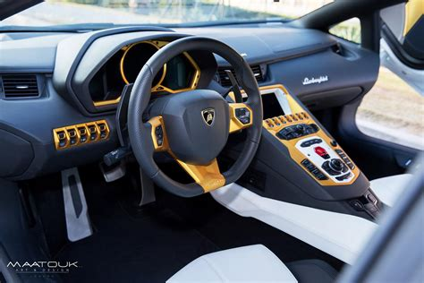 lamborghini aventador interior white lamborghini tuning aventador given the gold treatment by