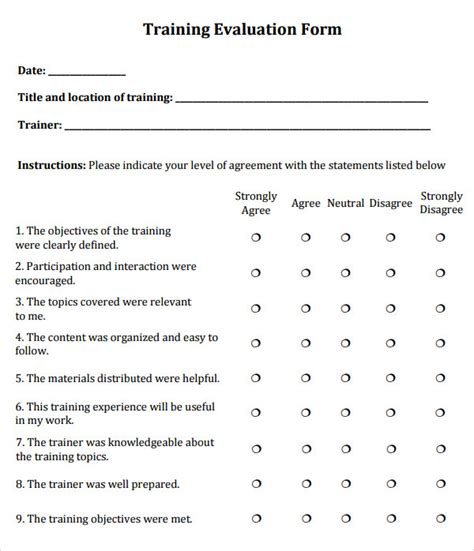 evaluation form template sle evaluation 6 documents in word pdf