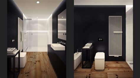 black white loft bathroom interior design ideas