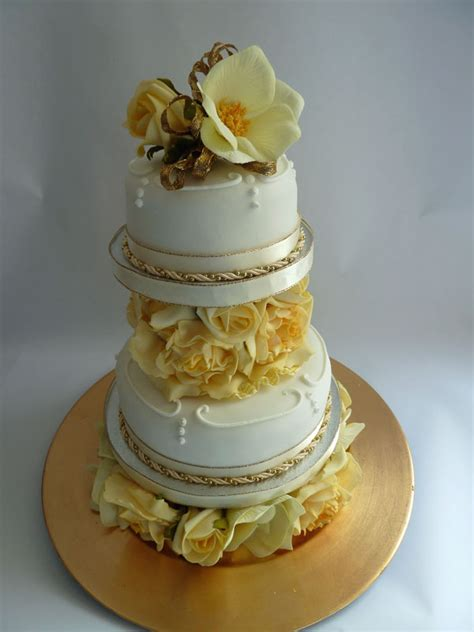 Wedding Cake Easy by With Ribbon And Easy Golden Wedding Cake