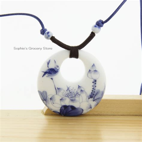 ceramic necklace pendants jingdezhen 2014 fashion vintage