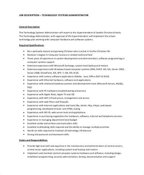 payroll administrator description system administrator description resume template sle