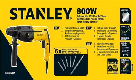 Stanley Rotary Hammer Bor Beton Sds Plus 26 Mm Shr263ka 1 stanley professional 800w 26mm sds plus rotary hammer my