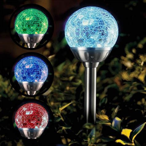 Colour Changing Solar Power Cracked Glass Crystal Ball Glass Solar Garden Lights