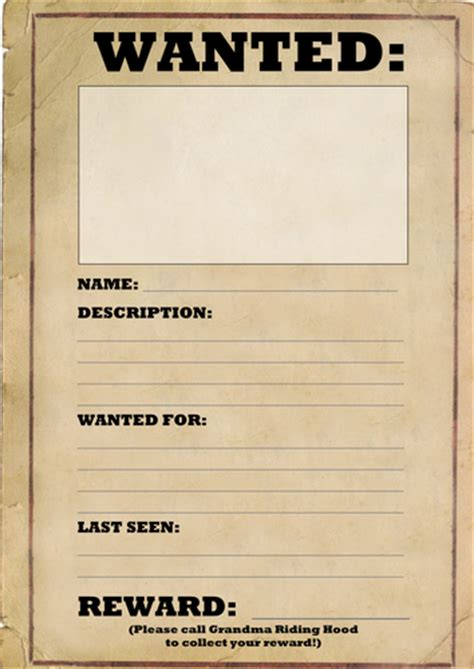 Wanted Poster Template By Joeroberts89 Teaching Resources Tes Chs Posters Templates