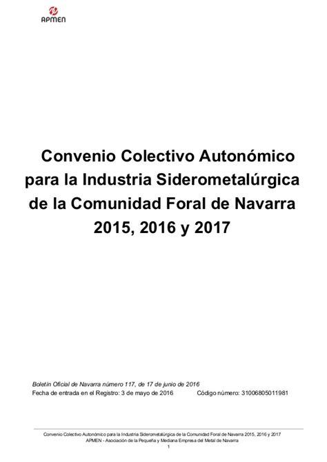 convenio colectivo comercio metal de tarragona 2016 convenio del metal de navarra