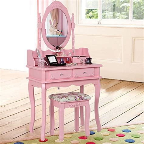 dressing table chair pink songmics pink dual layer dressing table with stool and