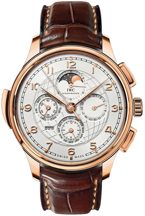 iwc grande complication silver 18k gold brown leather automatic s iw377402