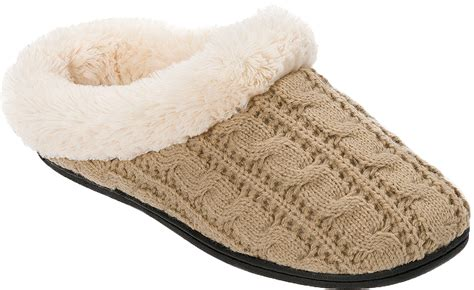 cable knit slippers dearfoams womens cable knit clog slipper ebay