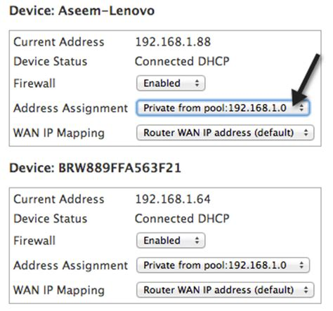 assign fixed static ip addresses to devices on home network