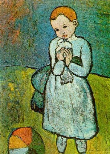 picasso paintings and child child with a dove 1901 print by pablo picasso
