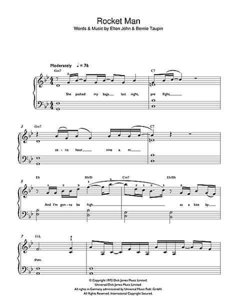 tutorial piano elton john rocket man sheet music by elton john beginner piano 42400