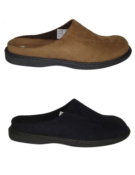 mens mule slippers mens zedzzz micro suede mules slippers in blue or brown