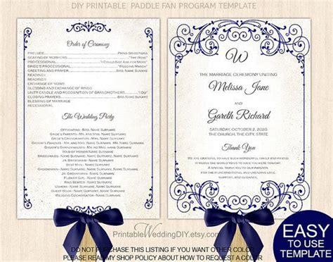 wedding program fan template free download navy blue wedding fan program diy printable wedding fan