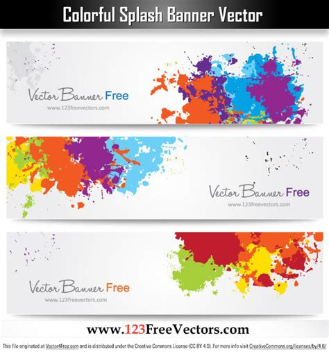layout de banner gratis free colorful splash banner vector