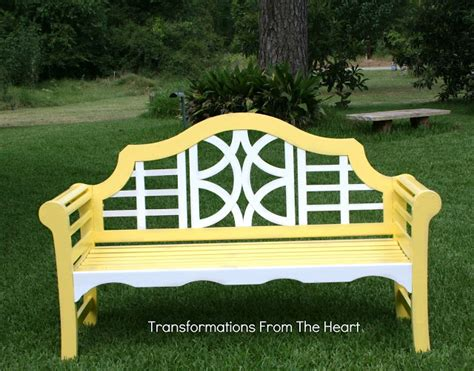the yellow bench transformations from the heart mello yellow hand painted