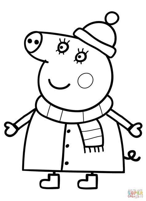 peppa pig mummy coloring pages mummy pig in winter suit coloring page free printable