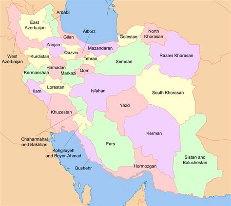 map or iran file map of iran with province names and neighboring land