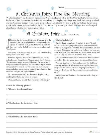 printable christmas reading comprehension christmas reading comprehension worksheets for middle