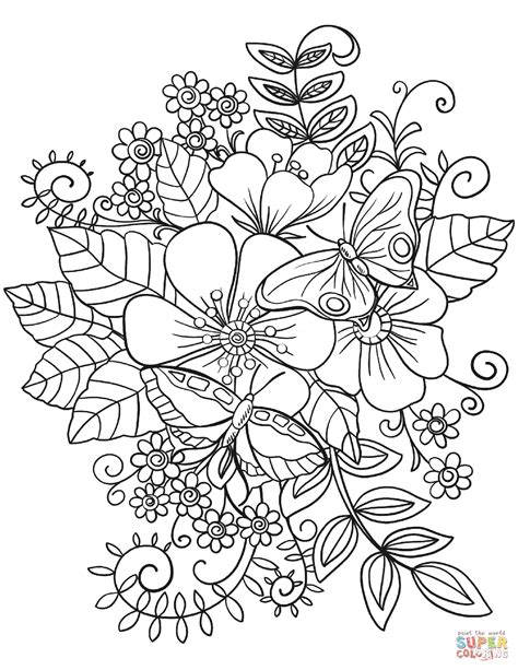 coloring pages of flowers and butterflies butterflies on flowers coloring page free printable