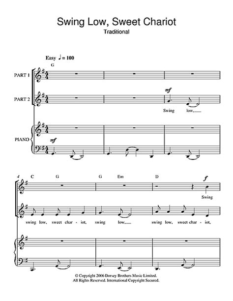 swing low sweet chariot choir swing low sweet chariot 2 part choir sheet music by by