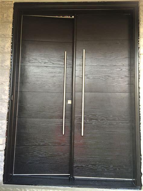 modern woodgrain rustic doors  stainless steel handles