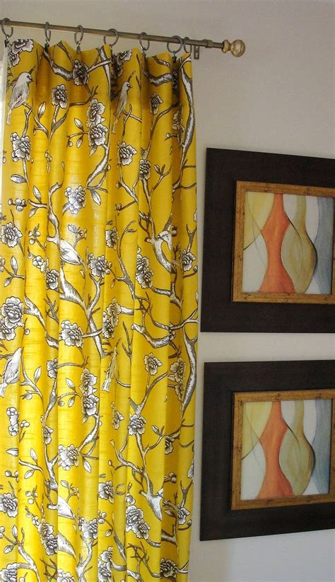 Yellow Curtains Drapes Designer Flate Rod Top Drapery