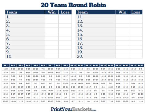 20 Team Round Robin Printable Tournament Bracket 10 Team League Schedule Template