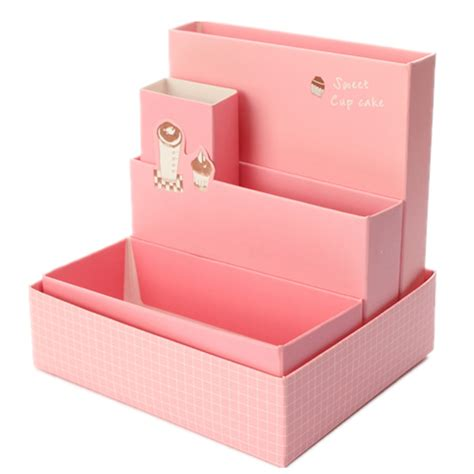 Diy Paper Board Storage Box Stationery Makeup Cosmetic Paper Desk Organizer