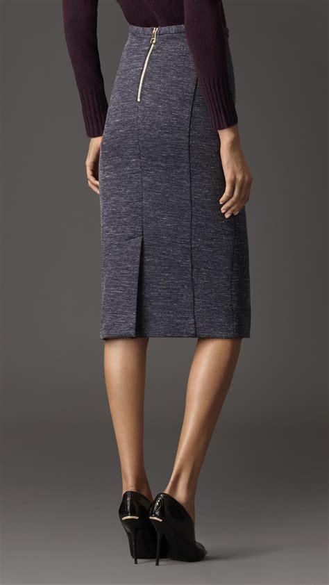 burberry wool melange pencil skirt in blue lyst