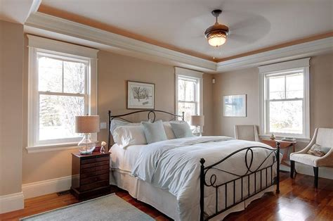 traditional bedroom  beige walls