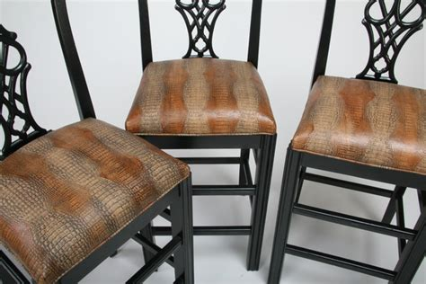 chippendale style bar stools 3 chippendale style bar stools w leather seats